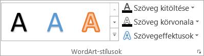 A WordArt-stílusok csoport