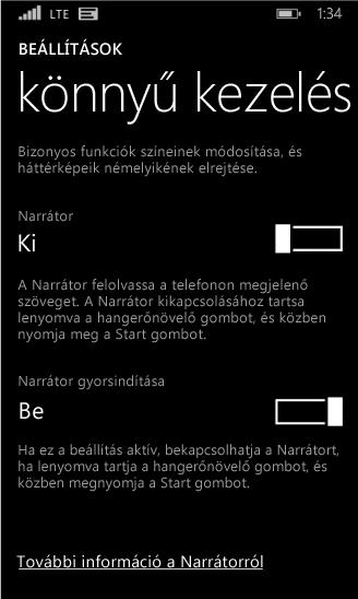 Windows Phone-narrátor beállításai
