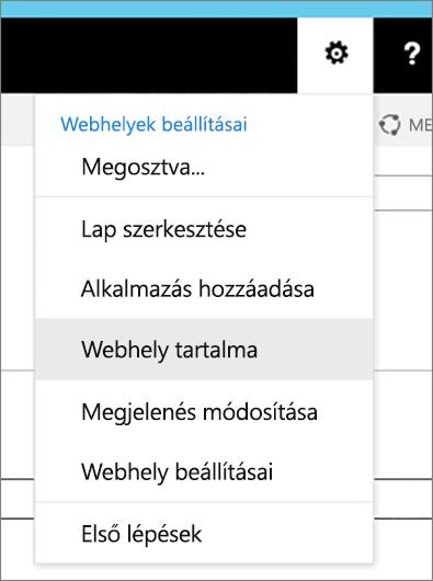 A Beállítások menü a kiemelt Webhely tartalma elemmel