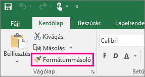 A Formátummásoló gomb az Excelben
