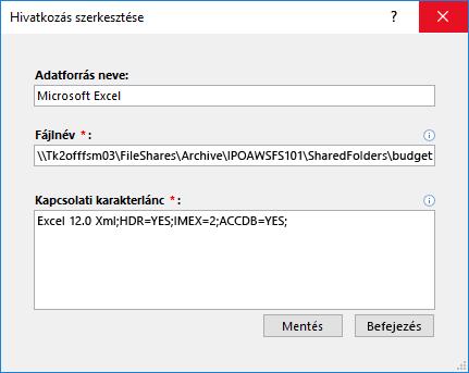 Excel-Adatforrás szerkesztése párbeszédpanelje