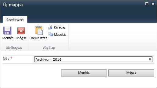 A SharePoint 2010 Új mappa párbeszédpanele.