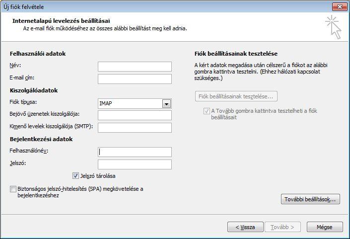 Outlook 2010 – Internetes e-mail beállítások