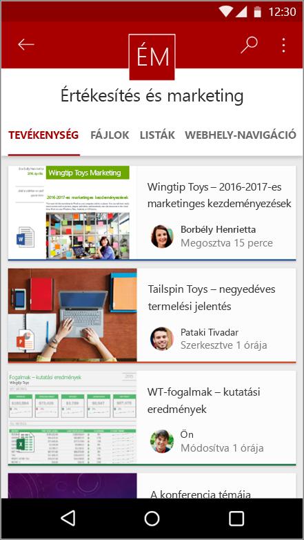 Képernyőkép: a naplózásáról, listák és navigációs Android mobilalkalmazásban