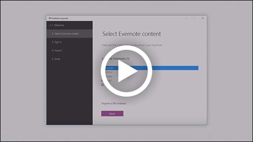 A OneNote importáló videó