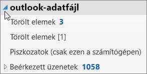 Az Outlook-adatfájl megnyitásához kattintson a mellette található nyílra.