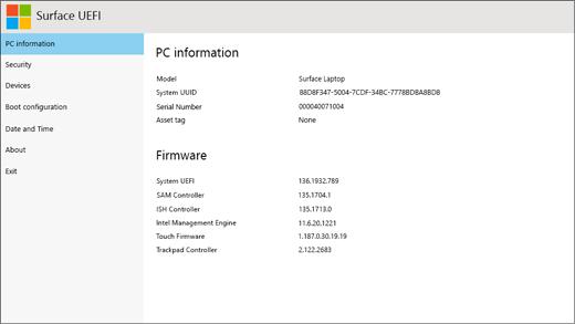 A Surface UEFI PC-információs képernyője