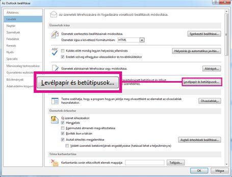 A Levélpapír és betűtípusok kategória Az Outlook beállításai párbeszédpanelen