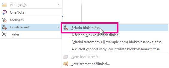 Feladó blokkolása parancs az üzenetlistában