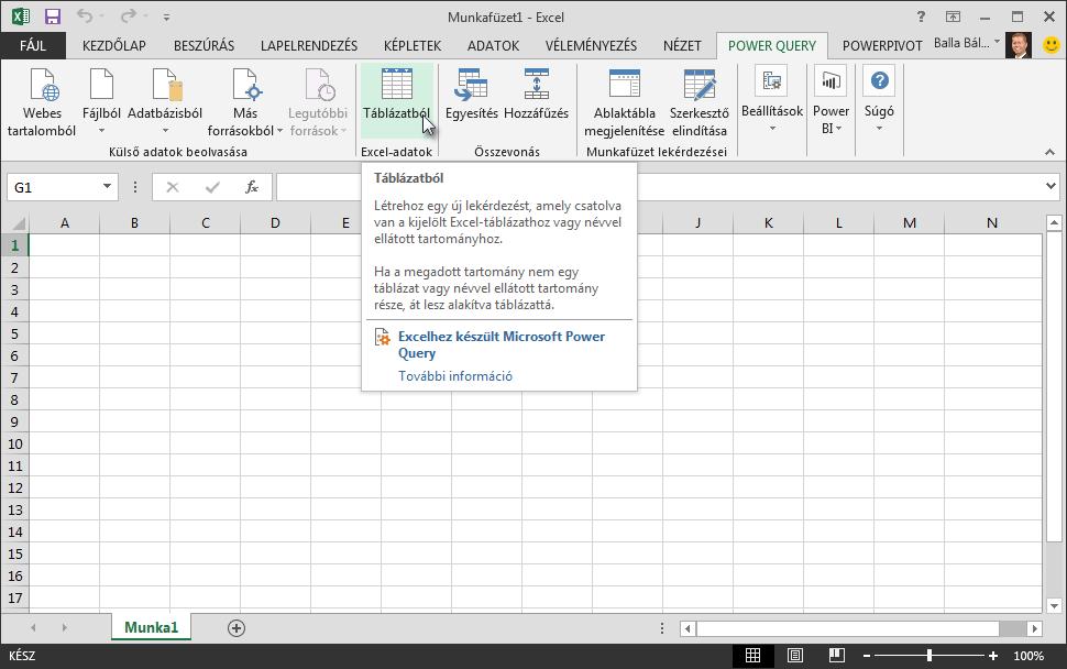 Csatlakozás egy Excel-adattáblához