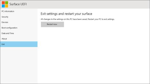 A Surface UEFI kilépési képernyője