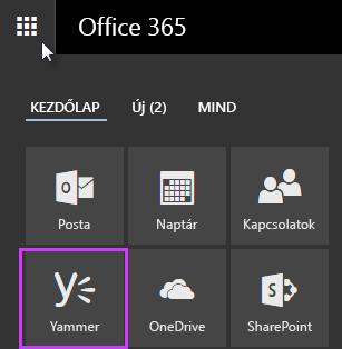 Képernyőkép az Office 365 alkalmazásindítójáról, benne a Yammer csempével