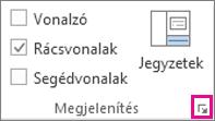 A párbeszédpanel-indító ikon elhelyezkedése