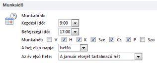 A Munkaidő csoport Az Outlook beállításai párbeszédpanelen