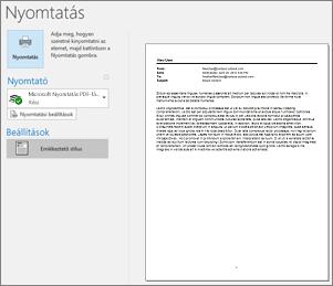 Outlookos e-mail nyomtatási előnézete