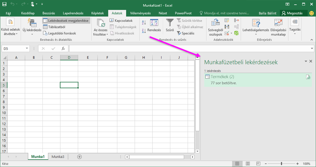 Lekérdezések Excel 2016-munkafüzetekben