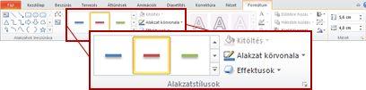 A Formátum lap a PowerPoint 2010 Rajzeszközök csoportjában
