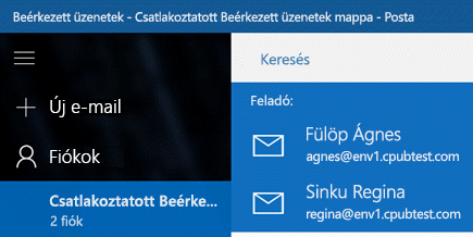 Az új üzenet küldésére használt fiók kiválasztása