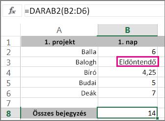 A DARAB2 függvény kijelölt tartománnyal