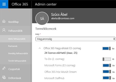 Képernyőkép az Office 365 Felügyeleti központ Terméklicencek lapjáról, amelyen a To-Do (2. csomag) váltókapcsolója Ki állásban van
