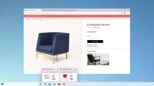A tálcára rögzített két weblap előnézete a Microsoft Edge-ben