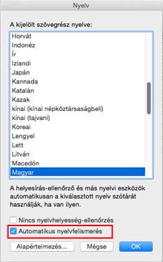 Mac Outlook 2016 – Automatikus nyelvfelismerés beállítás