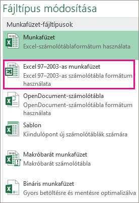 Az Excel 97–2003-as munkafüzet formátum