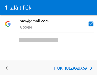 Koppintson a Fiók hozzáadása lehetőségre, ha fel szeretné venni a Gmail-fiókot az appba.