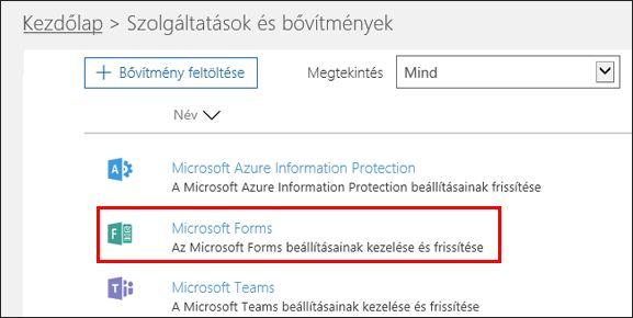 A Microsoft Forms rendszergazdai beállításai