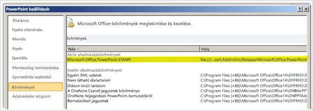 A PowerPoint beállításpanelének Bővítmények kategóriája a STAMP bővítmény kiemelésével