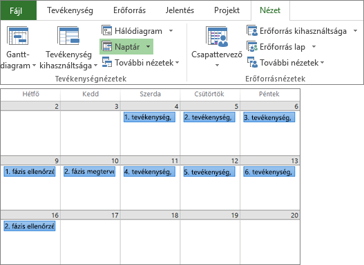 Képernyőkép a Nézet lap Tevékenységnézetek és Erőforrásnézetek csoportjáról és egy projekttervről a Naptár nézetben.