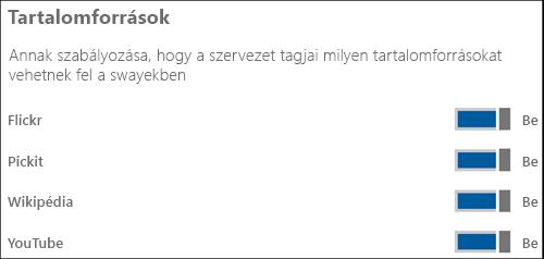 """Képernyőkép: a különféle tartalomforrások ki-be kapcsolása a """"Tartalomforrások"""" szakaszban."""