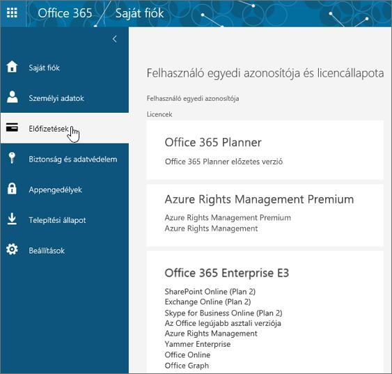 Office 365-előfizetések lapja