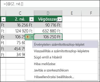 Az Excel-táblázat nem következetes képlet hibát értesítés