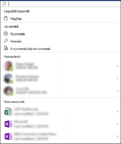 A Microsoft Keresés mező kijelölve