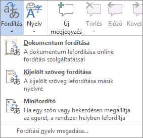Az Office-programokban elérhető fordítási eszközök