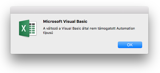 Microsoft Visual Basic-hibaüzenet: A változó a Visual Basic által nem támogatott Automation típusú.