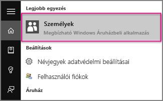 A Személyek szó beírása a Windows 10-ben