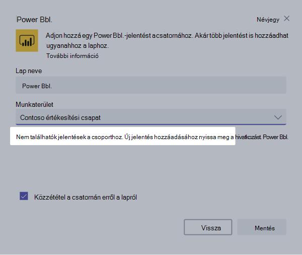 PowerBI lapon az Oldalbeállítás párbeszédpanel