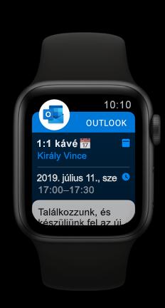 Az Outlook közelgő naptár-találkozóját megjelenítő Apple-óra