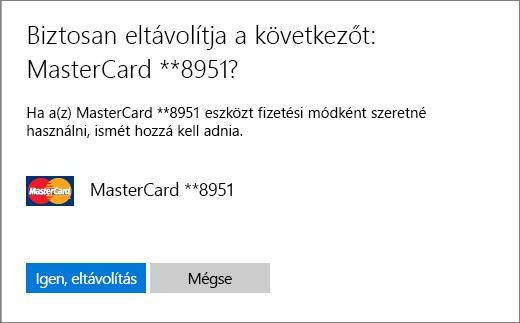 A hitelkártya eltávolításakor megjelenő ellenőrzőlap.
