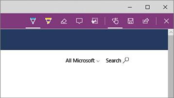 A Microsoft Edge webjegyzet eszközeinek képernyőképe