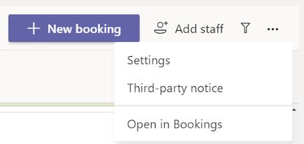 A Bookings alkalmazásban válassza a további beállítások > a beállítások lehetőséget.