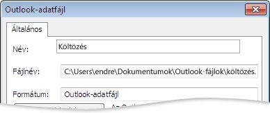 Az Outlook-adatfájl párbeszédpanel