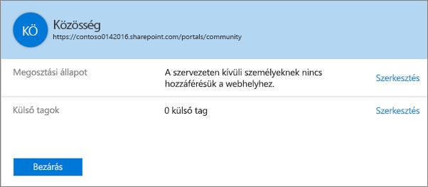 Egy adott webhelycsoport megosztási beállításokról szóló párbeszédpanele, kikapcsolt megosztással.