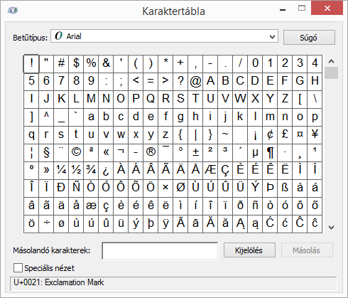 A Windows Karaktertábla programja