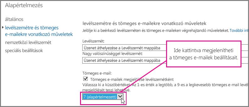 A tömegeslevél-szűrő beállítása az Exchange Online-ban