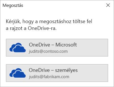 Ha még nem mentette a rajzát a OneDrive-ra vagy a SharePointba, a Visio megkéri erre.