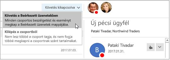 Leiratkozás gomb a csoportok fejlécében az Outlook 2016