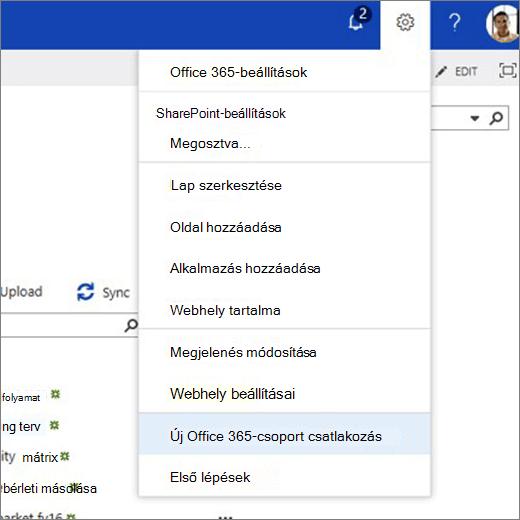 Ebben a képen a fogaskerék ikon menü látható, és a csatlakozás az új Office 365-csoporthoz parancs van kiválasztva.